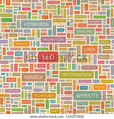 SEO. Word collage. Seamless illustration. - stock vector