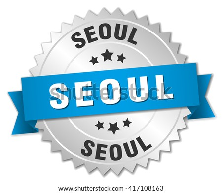 Seoul round silver badge with blue ribbon