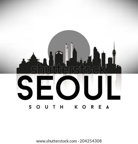 Seoul South Korea, Skyline Design, Black vector illustration. - stock vector