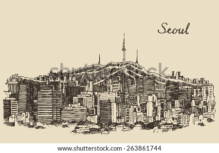 Seoul Special City architecture (South Korea), vintage engraved illustration, hand drawn, sketch - stock vector