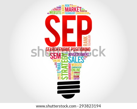 SEP (search engine positioning) bulb word cloud, business concept - stock vector
