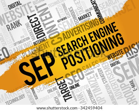 SEP - search engine positioning word cloud, business concept - stock vector