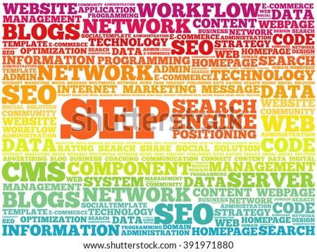 SEP (search engine positioning) word cloud business concept - stock vector