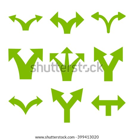 Separate Arrows vector icon set. Collection style is eco green flat symbols on a white background. - stock vector