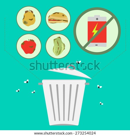 Separate toxic waste. Organic waste separation of toxic waste to the environment, such as batteries. - stock vector