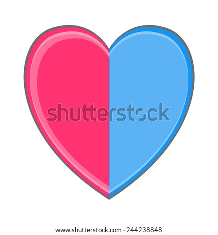 Separated Heart - stock vector