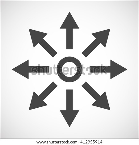 Separation icon with arrows explanation. Complication. Diversification process in business. Split from single to many. From simple to complex arrow diagrams. - stock vector