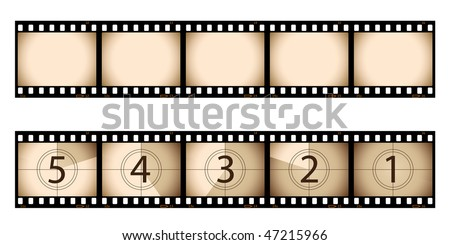 Sepia film strip and countdown - stock vector