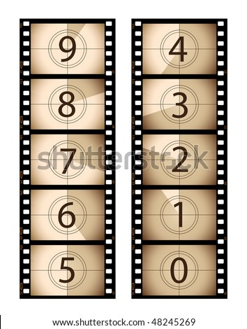 Sepia vertical film countdown - stock vector