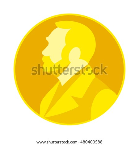 September 8, 2016: A vector flat image of the Nobel Prize golden medal on white background. The medal has an image of Alfred Nobel in left profile on the obverse.