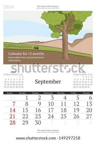 September.. 2014 Calendar.  - stock vector