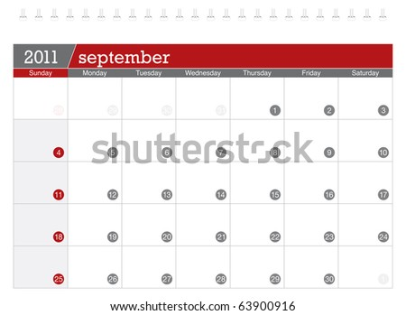 September 2011 Calendar - stock vector