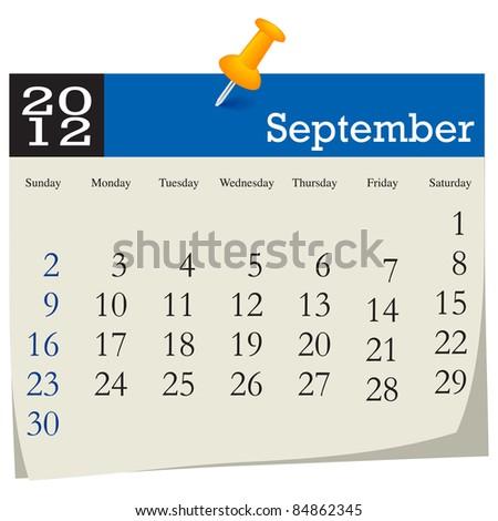 September 2012 Calendar - stock vector