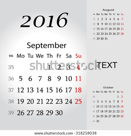 September 2016. Calendar for 2016 Year. Week Starts Monday. 3 Months on Page. Vector Design Print Template - stock vector
