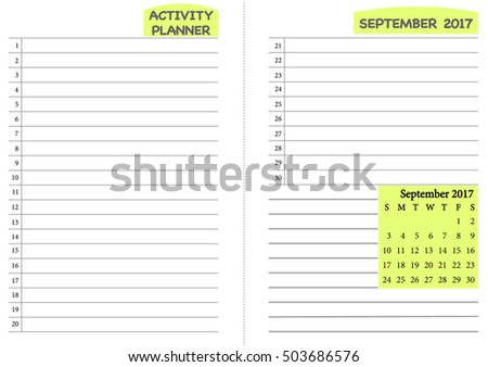 September  Calendar Template Monthly Planner Stock Vector