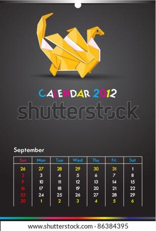 September 2012 Dragon Calendar Template - stock vector