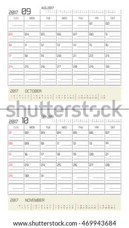 September & October 2017 -planning calendar / Calendar to schedule monthly - March & April 2017