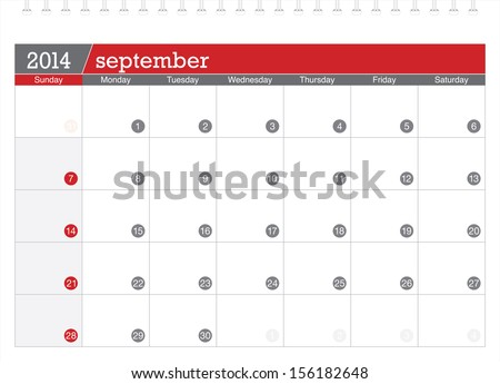 september 2014 planning calendar - stock vector