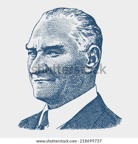 September 22, 2014 - Portrait of Mustafa Kemal Ataturk (1881-1938), founder and first president of the Turkish Republic (1923-1938)
