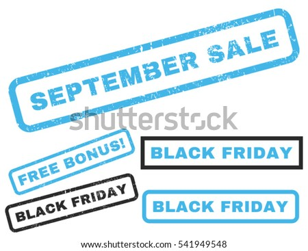 September Sale rubber seal stamp watermark with additional design elements for Black Friday offers. Vector blue and gray signs. Tag inside rectangular shape with grunge design and dust texture.