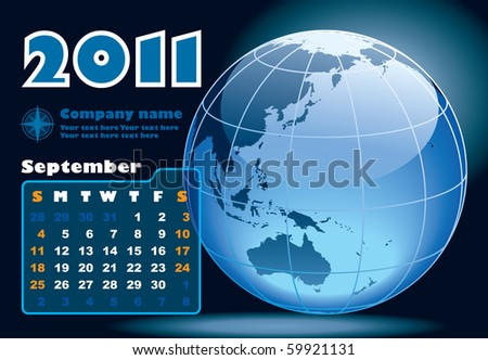 September - the Earth blue calendar for 2011, weeks starts on Sunday - stock vector