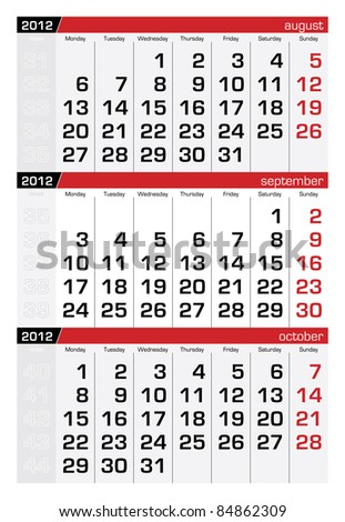 September 2012 Three-Month Calendar - stock vector