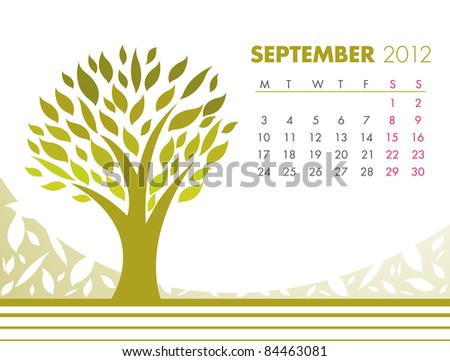 September Tree Calendar 2012. VECTOR