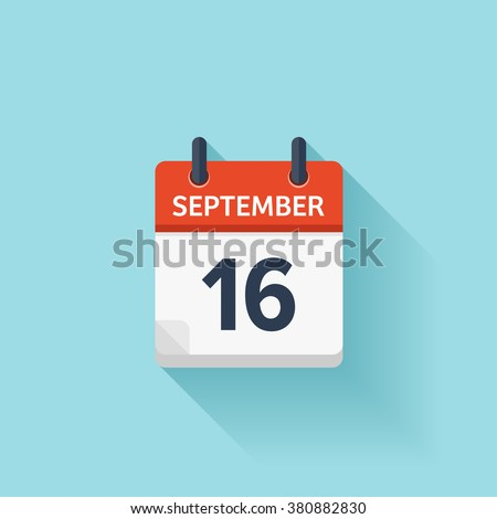 September  16. Vector flat daily calendar icon. Date and time, day, month. Holiday. - stock vector