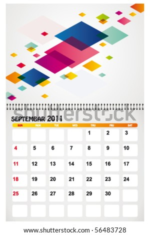 september 2011 with background - stock vector