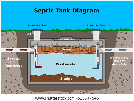 Septic Tank Vector Diagram Stock Vector 613537646