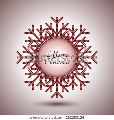 """Sequin snowflake with """"Merry Christmas"""" sign for greetings cards and other creative designs.Editable vector with several layers.Eps 10 - stock vector"""
