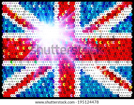 Sequins Great Britain Flag - stock vector
