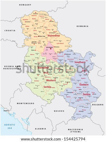 serbia administrative map - stock vector