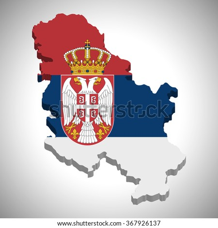 Serbia - 3D map and flag