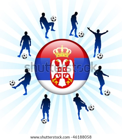Serbia Flag Icon on Internet Button with Soccer Players Original Vector Illustration - stock vector
