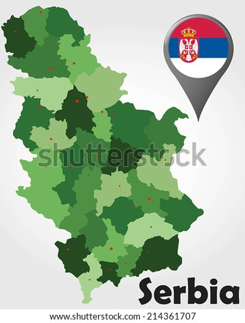 Serbia political map with green shades and map pointer.