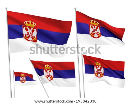 Serbia vector flags. A set of 5 wavy 3D flags created using gradient meshes. - stock vector