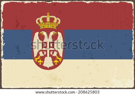 Serbian grunge flag. Vector illustration. Grunge effect can be cleaned easily