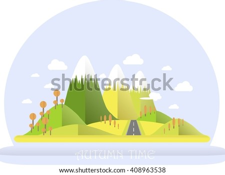Series four seasons. Mountain landscape, road in autumn time. Modern flat design, design element, vector
