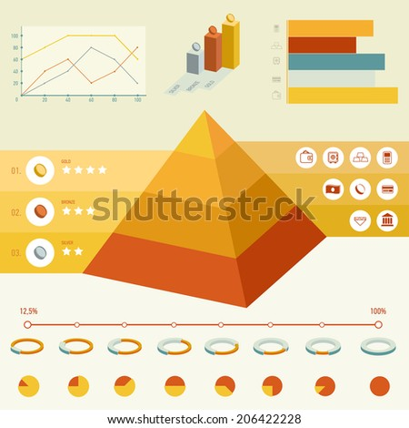 Series infographic elements for design and graphics. Business, money, finance, resources and precious metals. - stock vector