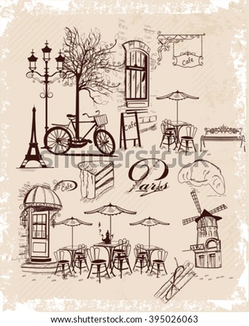 Series of backgrounds decorated with old town views and street cafes, sweets.  Paris. Hand drawn Vector Illustration.