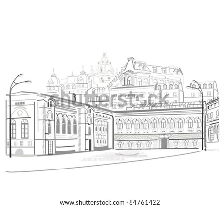 Series of beatiful views at the streets in the city sketch - stock vector