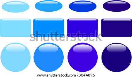 Series of blue glass web buttons - stock vector
