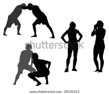 Series of boys warming up and girls watching them. - stock vector