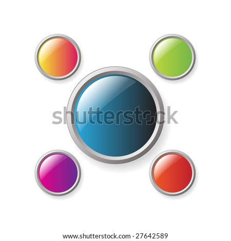 Series of 5 buttons isolated on a white background