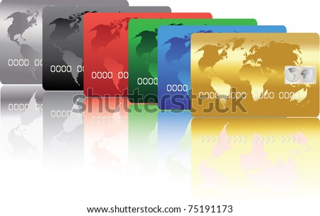 series of colorful credit cards - stock vector