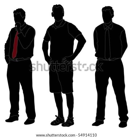 Series of men standing in various formal poses - stock vector