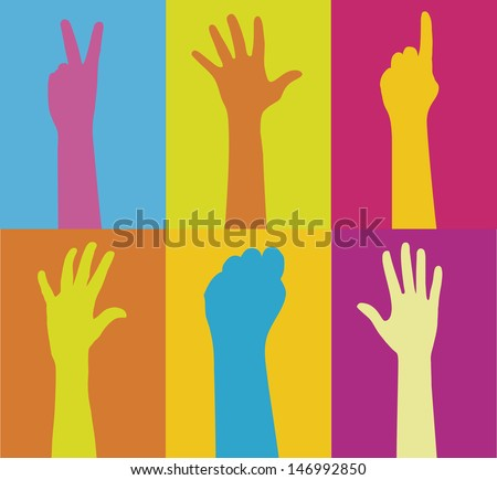 Series of raised hands in variant colors.