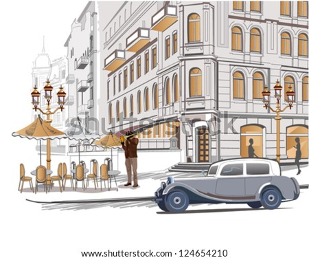 Series of sketches of beautiful old city views with cafes and a retro car - stock vector