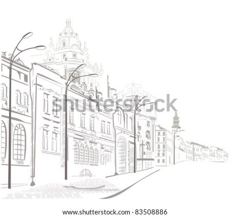 Series of sketches of the streets in the old city - stock vector